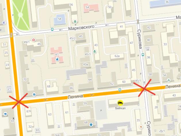 Два перекрестка в центре Красноярска закрывают из-за дорожного ремонта