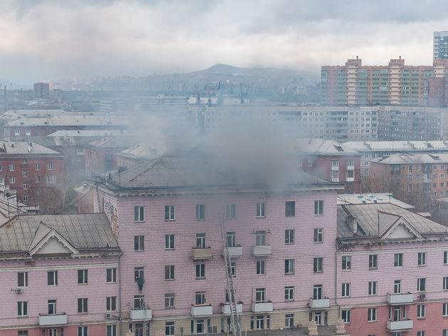 В Красноярске снова пожар: горит бывший кинотеатр «Спутник» ВИДЕО
