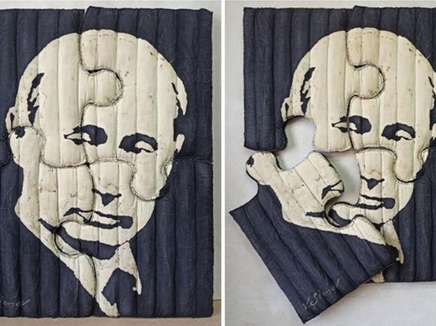 Красноярский художник Василий Слонов презентовал ватный пазл с Владимиром Путиным